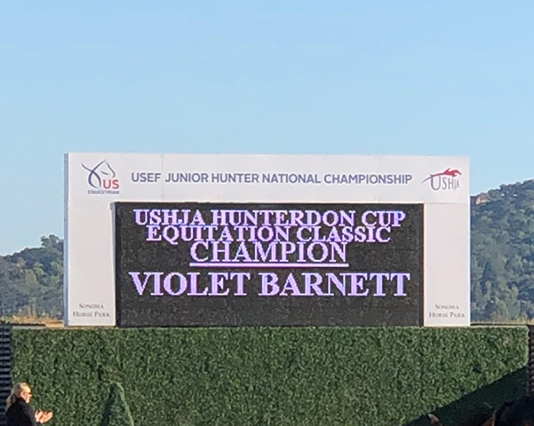 Violet Lindemann Barnett USHJA Hunterdon Cup Equitation Classic Champion 2019 USEF National Junior Hunter Finals Sonoma Horse Park