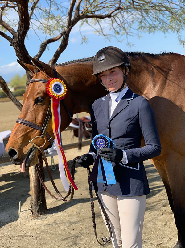 Kyra Russell and Favorite Large Junior Hunter 15 & Under 2020 Desert Circuit