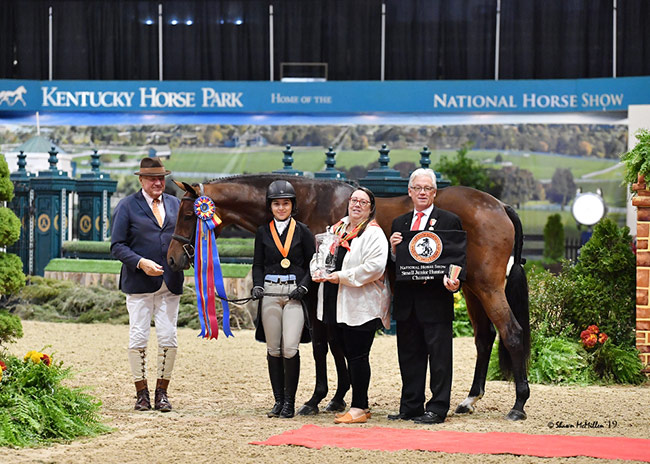 Sloan Lindemann Barnett's Luscious and Violet Lindemann Barnett Champion Small Junior Hunter 16-17 2019 National Horse Show Photo by Shawn McMillen