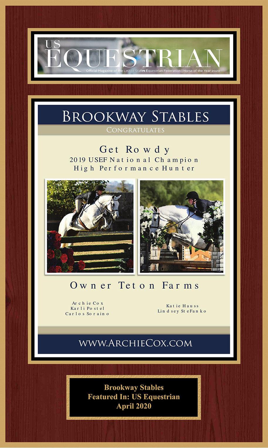 Brookway Stables Featured in US Equestrian April 2020
