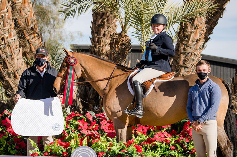 "Violet Tatum and Valedictorian Champion Jr Hunters 3'6"" 15 & U 2020 Desert Holiday Photo by Sara Shier"